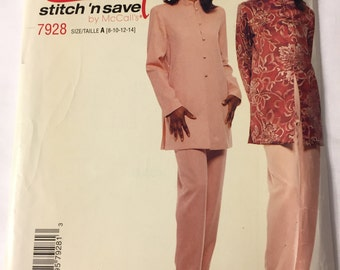 Vintage McCall's 7928 Asian Style Tunic and Pants, Size A, Size 8 - 14, UNCUT
