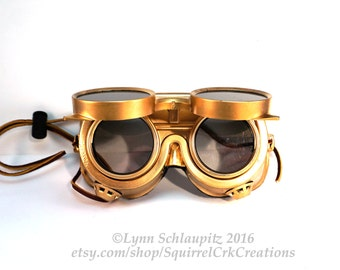 Steampunk Goggles!  LARP, Cosplay, Steampunk costume, Gold goggles, Cosplay, Role Play, Goggles, Airship, Airship Captain