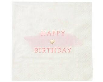 Pink Happy Birthday Napkins, Birthday Party Tableware, Pink Birthday Decorations, 16 Pack