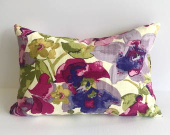 Floral, Linen Lumbar Throw Covers
