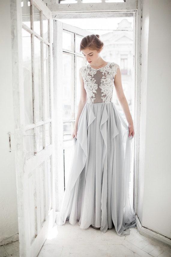 Gray wedding dress // Iris / Blue grey silk wedding dress