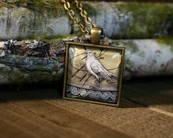 Bird Glass Pendant Necklace Bird Jewelry ~ Glass Bird Pendant ~ Nature Jewelry ~ Gift for Bird Lover
