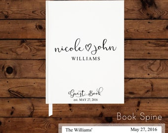 Personalized Wedding Guest Book - modern - black and white wedding - hardcover guest book - trendy - navy - reception book - bridal shower