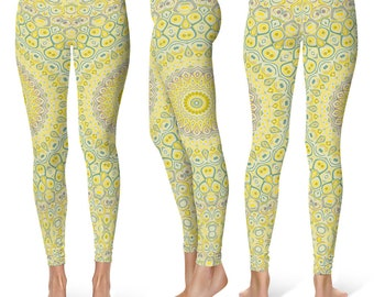 Yellow Leggings Yoga Pants, Printed Yoga Tights, Yellowish Green Mandala Pattern
