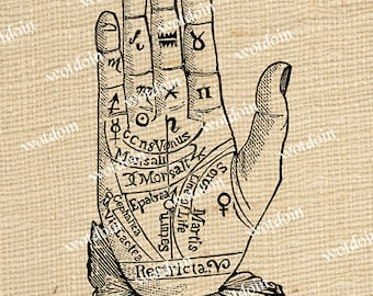 Fortune Teller Palmistry Palm Reading Hand Magic Occult New Age Image Transfer Digital Download Printable