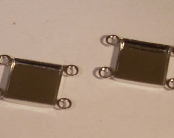Beads between two square customize silver-plated 11 mm x 10