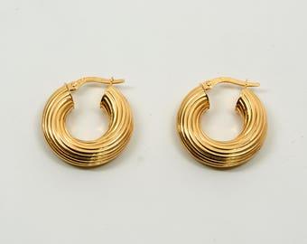 14K Yellow Gold Swirl Style Hoop Earrings