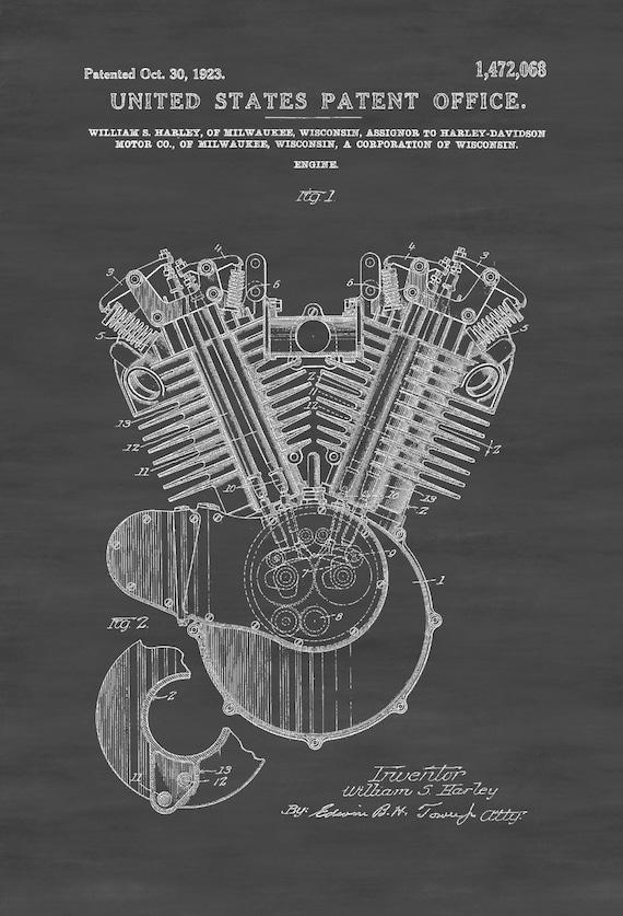 Harley motorcycle engine patent patent print wall decor malvernweather Choice Image