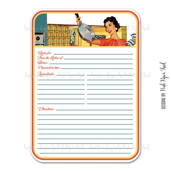 Printing On Index Cards: Items Similar To Retro Blank Recipe Card, Digital Template