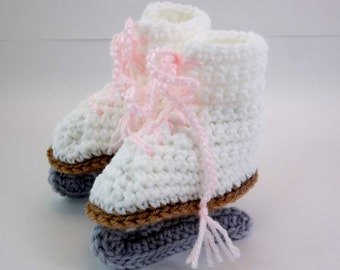 Crochet Baby Booties White  Figure Skates Pink Laces  Baby Photo Prop
