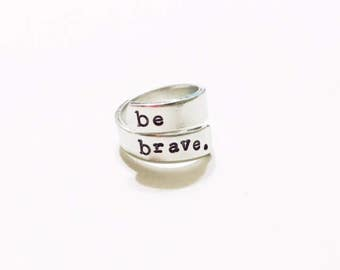 Be Brave Wrap Ring Inspirational Jewelry