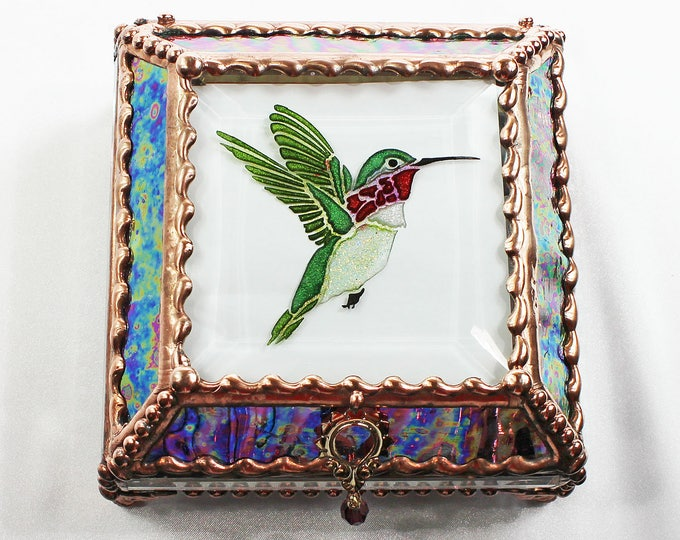 Etched Hand Painted Hummingbird - Treasure Box