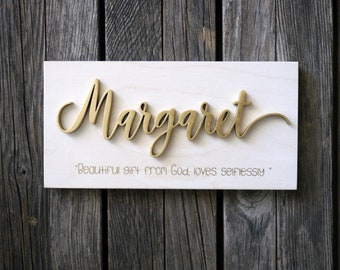 Baby name meaning etsy personalized name meaning wood sign laser cut wood modern rustic home decor personalized negle Images