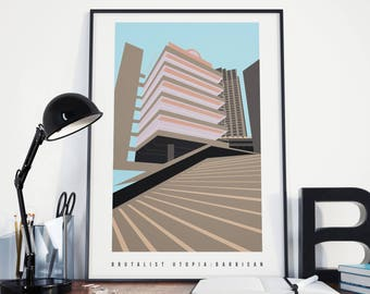 Brutalist Barbican - London Brutalism Architecture Illustrated Matte & Giclee Art Prints. Modernist Estate London - Prints of London