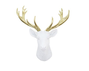Mini Deer Head Wall Mount in White and Gold - Small Faux Taxidermy Deer Head - Baby Nursery - Gallery Wall Home Decor SD0108
