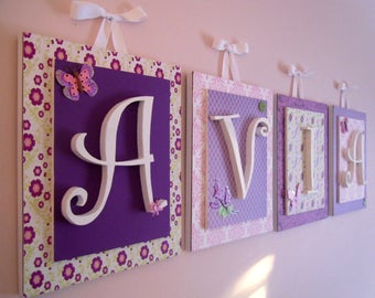 Baby Name, Name Sign for Baby, Wooden Name Sign, Wooden Sign for Baby, Letters for Baby's Room, Lambs and Ivy, Purple and Pink Butterfly