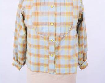 """ANNIVERSARY SALE // 1970s plaid blouse   pastel plaid button down blouse   vintage 60s blouse   W 44"""""""