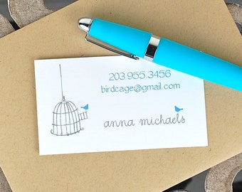 Calling Cards / Custom Calling Cards / Business Cards / Contact Cards / Personalized Calling Cards - Dainty Birdcage