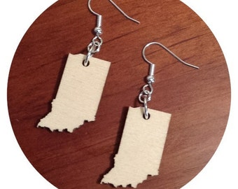 Wooden Indiana Earrings, State Jewelry in Lasercut Birch Natural Material