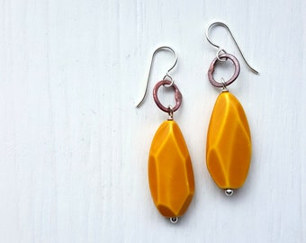 you're a gem earrings - vintage lucite, copper, and sterling silver - mixed metals, mustard yellow, faceted oversized earrings