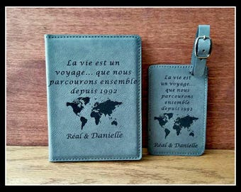Passport Cover and Luggage Tag Set, French Personalized Leather Passport Holder and Luggage Tag, Bride, Groom Gift, Anniversary, Christmas