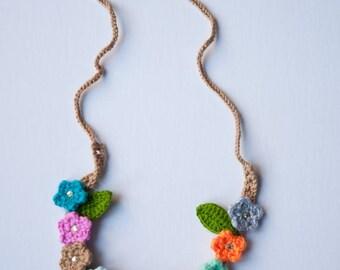 Handmade Crochet Necklace Flower Power Hippie Boho Headband Bohemian Jewelry