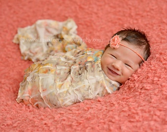 Ruffle Stretch Fabric Wrap Topaz Brown Cream Newborn Photography Prop Posing Swaddle
