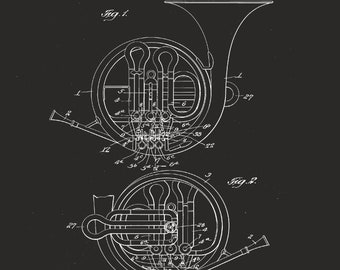 Blueprint art etsy french horn patent blueprint art brass musical instrument printable art music patent musician gift patent wall art music teacher gift malvernweather Images
