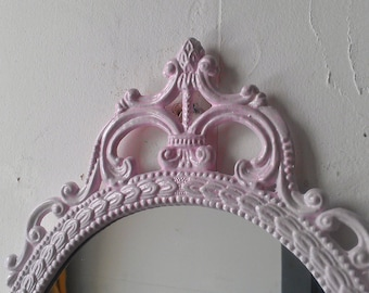 Pink Wall Mirror Large Ornate Frame Baby Cottage Chic Paris Bedroom