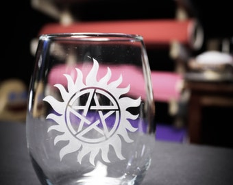 Supernatural Inspired Anti-Possession Tattoo Wine Glass