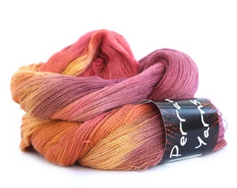 Alpaca silk cashmere Heavenly Lace handdyed variegated laceweight Perran Yarn, Sunset Party orange plum red purple fine 2ply, uk seller