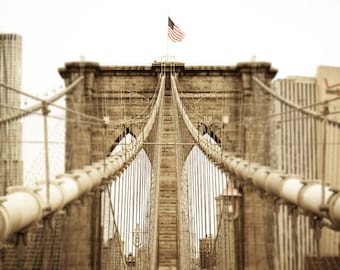 Brooklyn Bridge Photo - NYC Photography - New York City - Vintage, Sepia - American Flag - Manhattan - Steel Cables