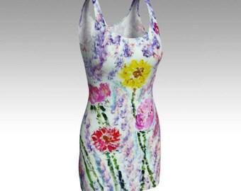 """Wearable art dress """"Beautiful Journey,"""" with artwork by Andrea Zakrzewski"""