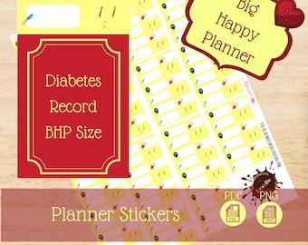 Diabetes Record|Big Happy Planner Stickers|Happy Planner Stickers|Single Sheet Stickers|Create 365|MAMBI