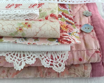 Vintage Textile Bundle - Antique Quilt Fragments - Vintage Linens - Hand Embroidery - Vintage Lace - Crafts - Vintage Scrap Pack
