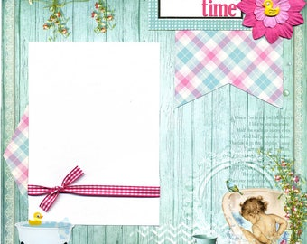 Bath Time - 12x12 Premade Baby Scrapbook Page