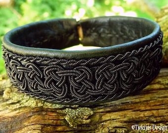 Gothic Black Viking Bracelet Cuff BEOWULF Sami Bracelet in Reindeer Leather with Black Braid - Custom Handcrafted Nordic Folklore