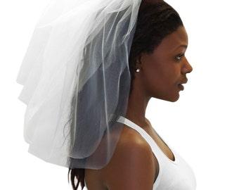 Tulle Veil - Bachelorette Party Veil, White Bachelorette Veil, Bachelorette Party, Bridal Shower Veil, Party Veil