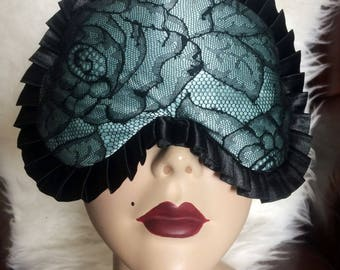 Madame Sleep mask in light blue Silk with Calais Lace on the front - Love Me Sugar
