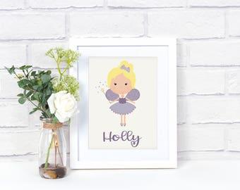 Personalized Girl's Fairy Wall Art - Fairy Decor - Girls Room Decor - Personalized Print - Name Wall Art Print - Nursery Room Decor