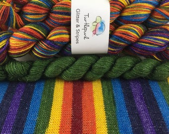 Om - With Green Heel & Toe - Hand-Dyed Self-Striping Glitter Sock Yarn