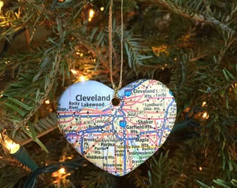Cleveland Map Ornament