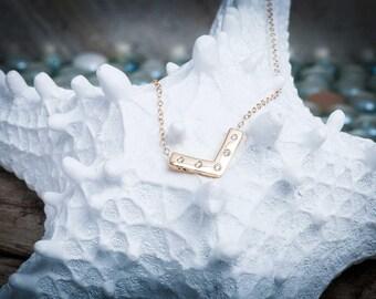 Balancing Heat Necklace | 14k Diamond Necklace | Layering Necklace