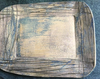 Slab stoneware platter