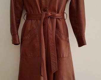 Vintage Long Leather Belted Trench Coat Size Medium
