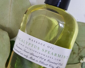 Eucalyptus Spearmint Massage Oil - Mint Body Massage Oil - Sweet Almond Oil Massage - Refreshing Massage Oil - Romantic Massage Oil