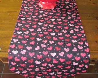 Handmade Black Heart Tablerunner, Valentine's Day Table Runner, Pink Heart Table Runner, Red Heart Table Runner, Black Love Table Runner
