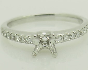 18K White Gold 0.18ctw F-VS2 Round Cut Natural Diamond Engagement Ring Setting 6.25; sku # 5355