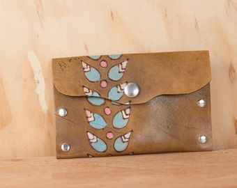 Small Leather Pouch or Mini Wallet - Petal pattern with modern flowers in sage and antique brown  - Case for Business Cards, Coins or Wallet