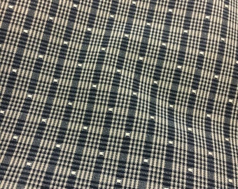Plaid upholstery fabric/ black taupe/ country/ square dot/ destash